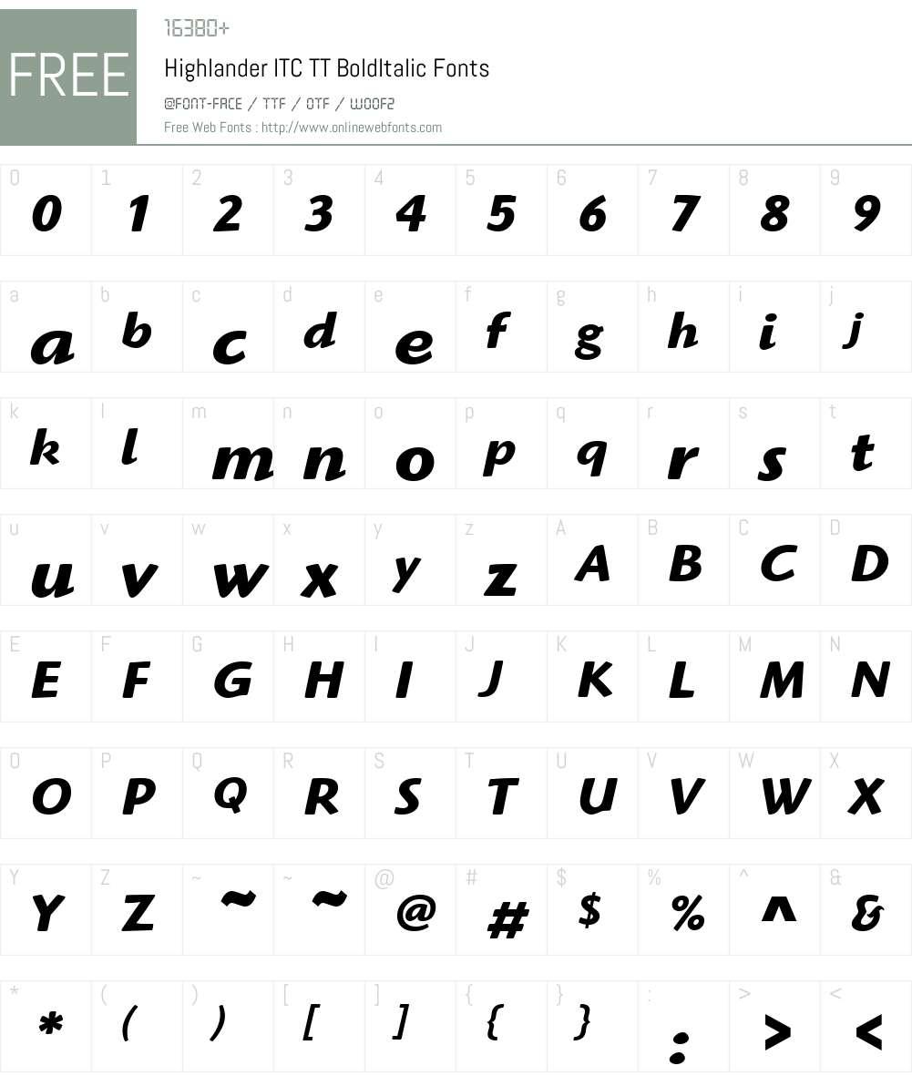 Highlander ITC TT Font Screenshots