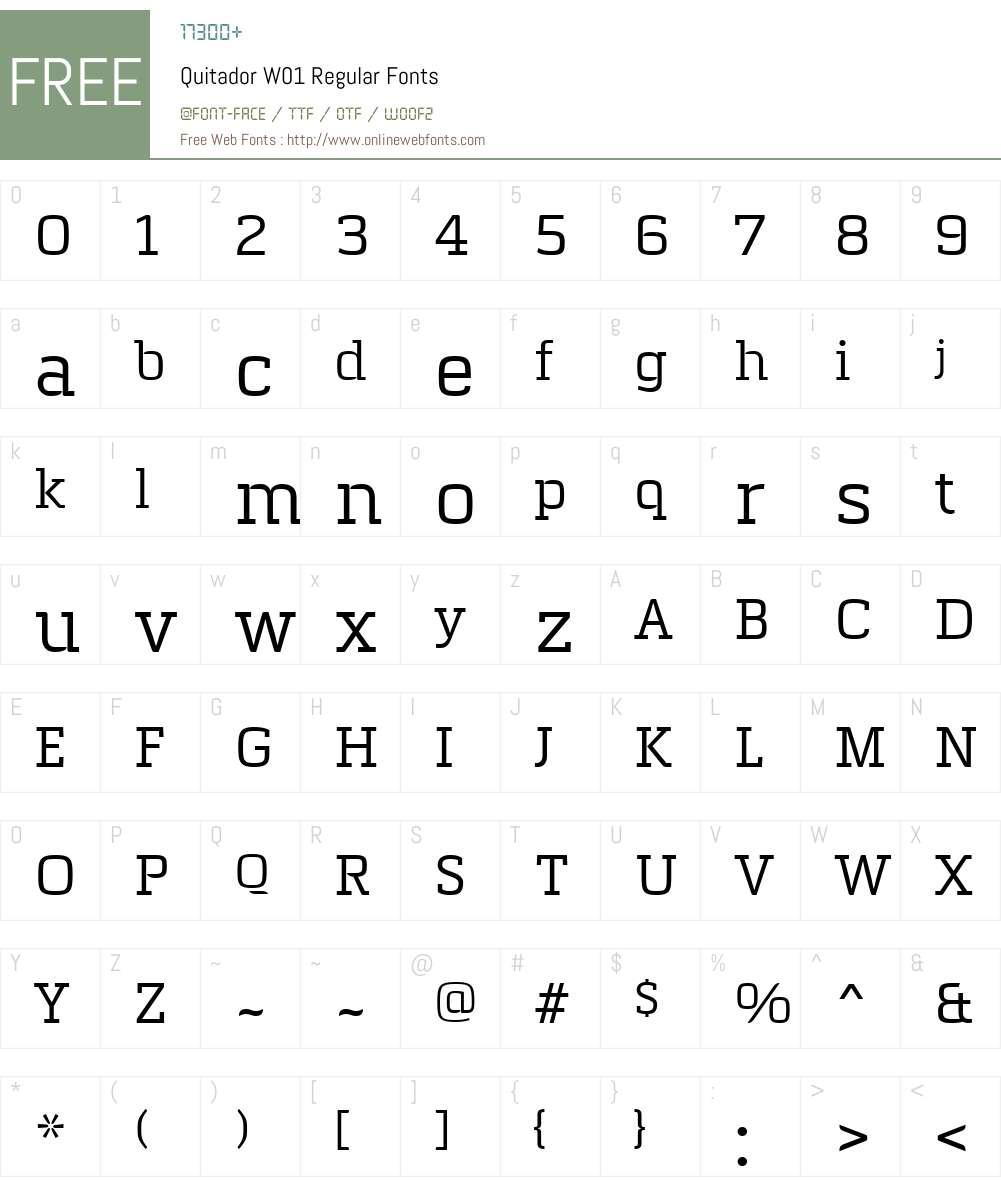 QuitadorW01-Regular Font Screenshots