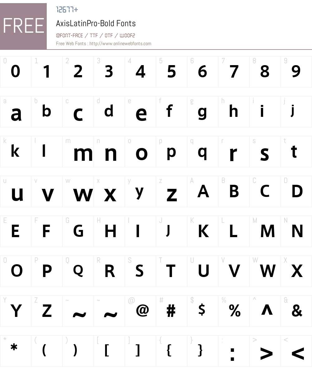 AxisLatinPro-Bold Font Screenshots