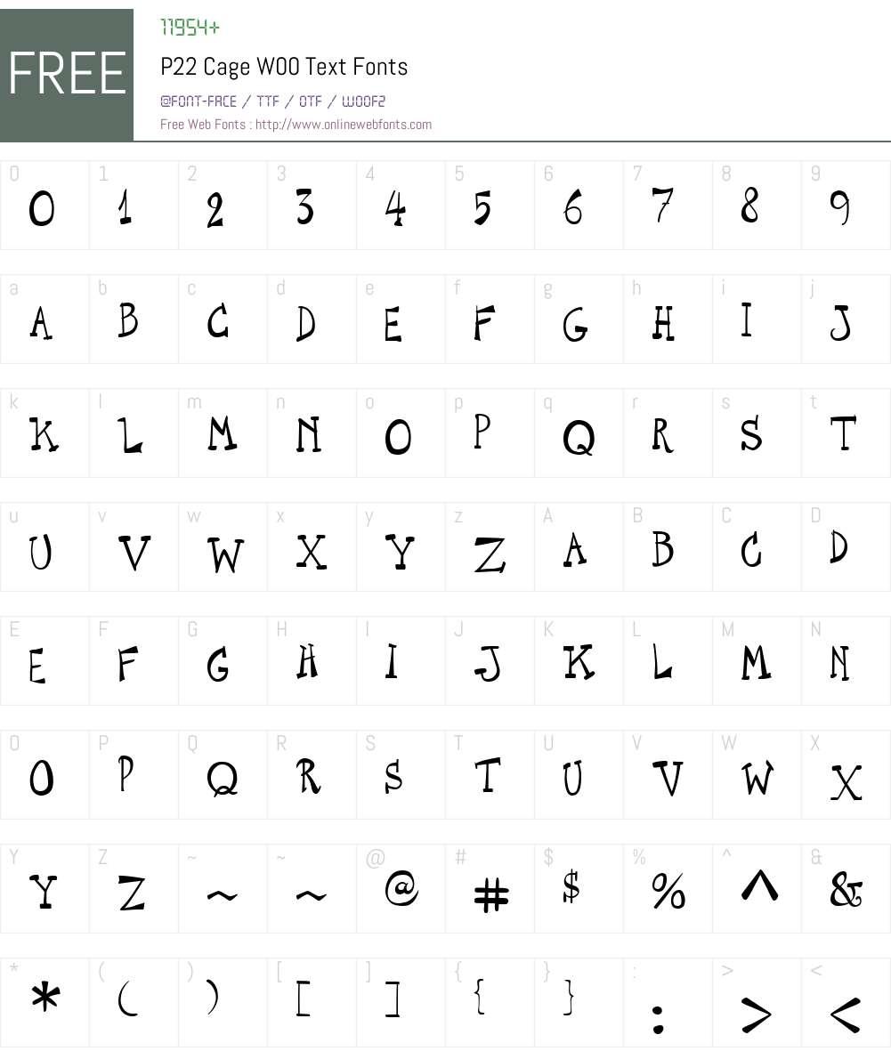 P22CageW00-Text Font Screenshots