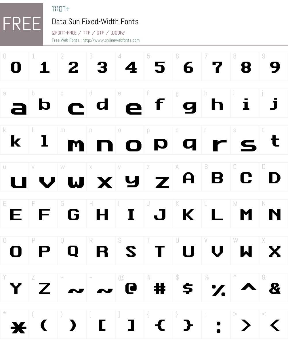 DataSunFixed Font Screenshots