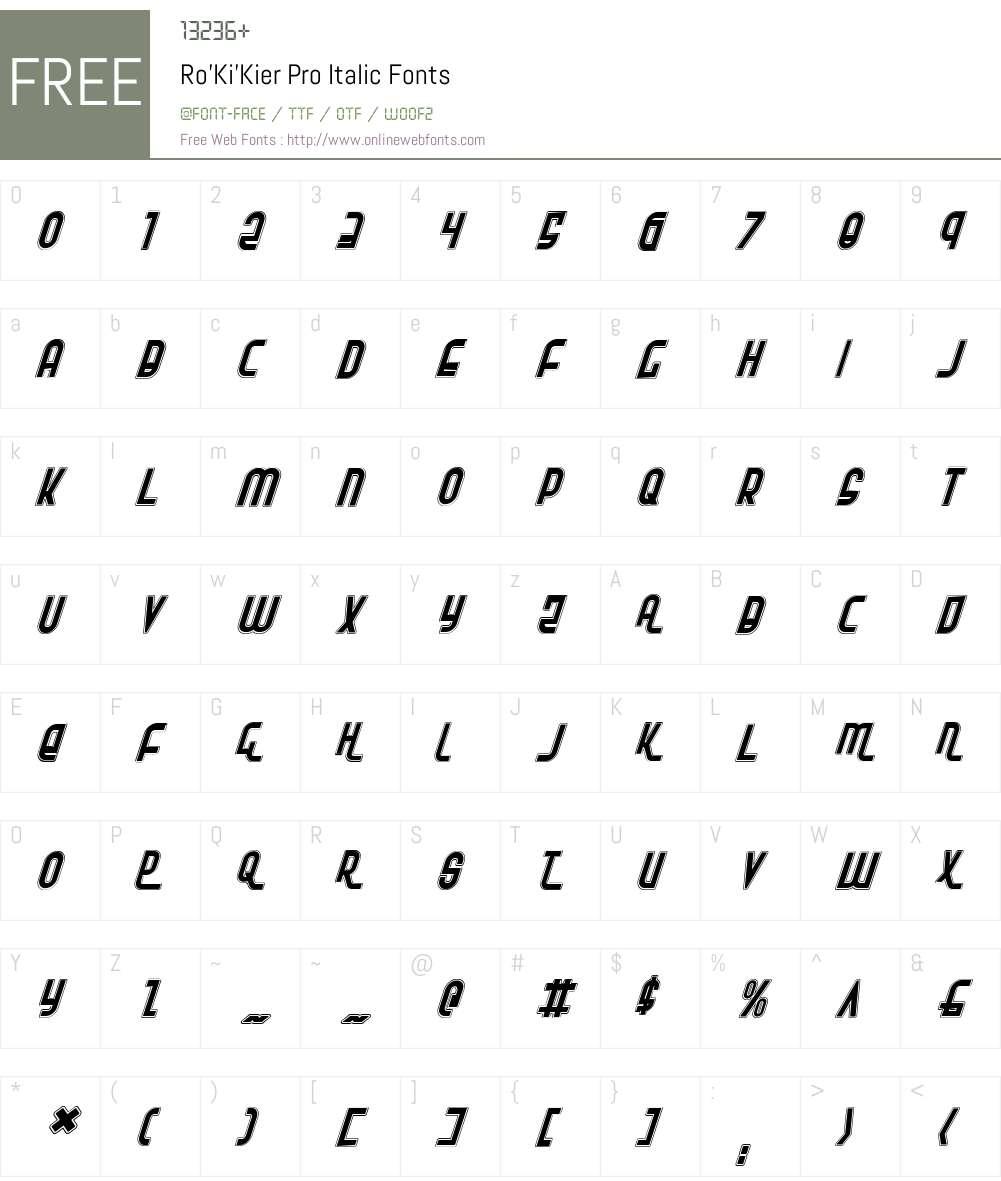 Ro'Ki'Kier Pro Italic Font Screenshots