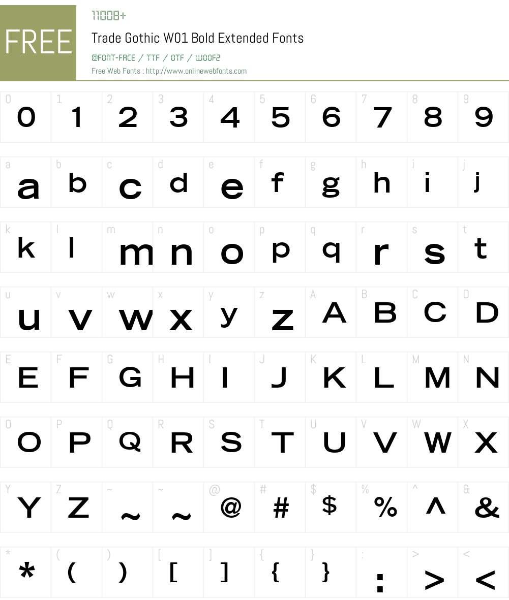 TradeGothicW01-BoldExtended Font Screenshots