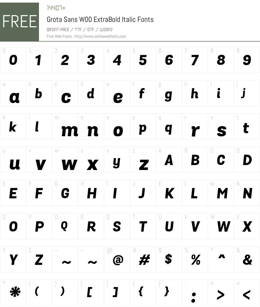 GrotaSansW00-ExtraBoldIt Font Screenshots