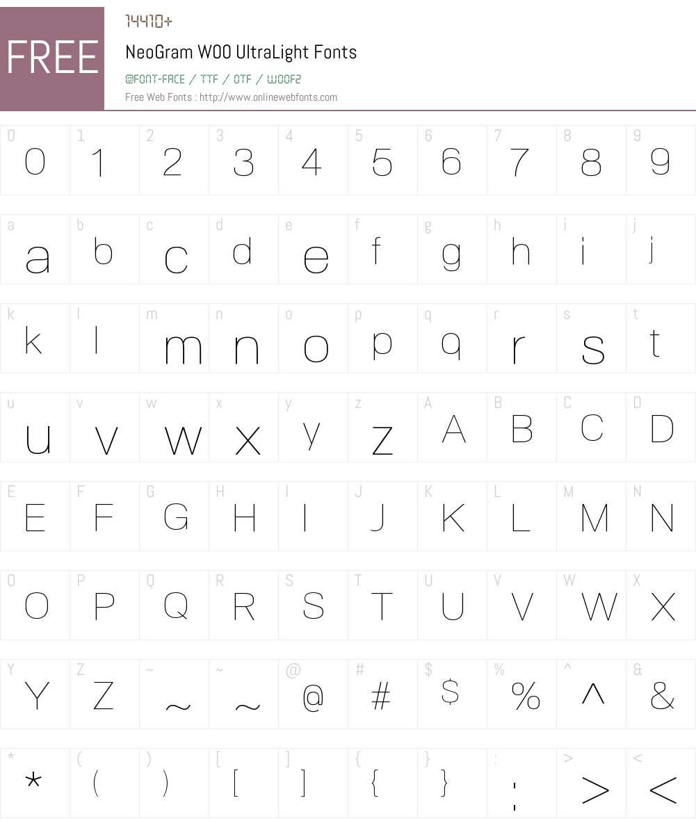 NeoGramW00-UltraLight Font Screenshots