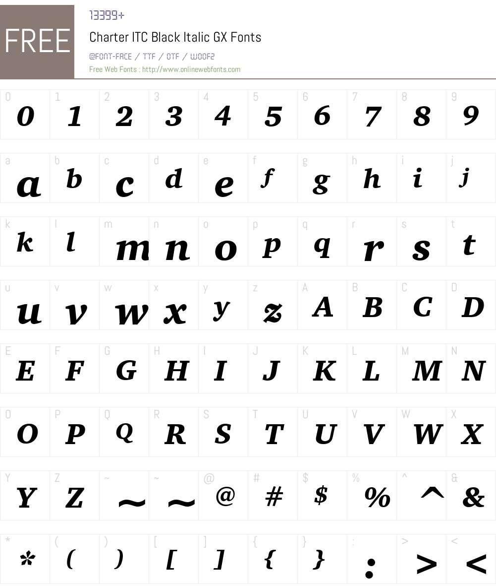 Charter ITC GX Font Screenshots