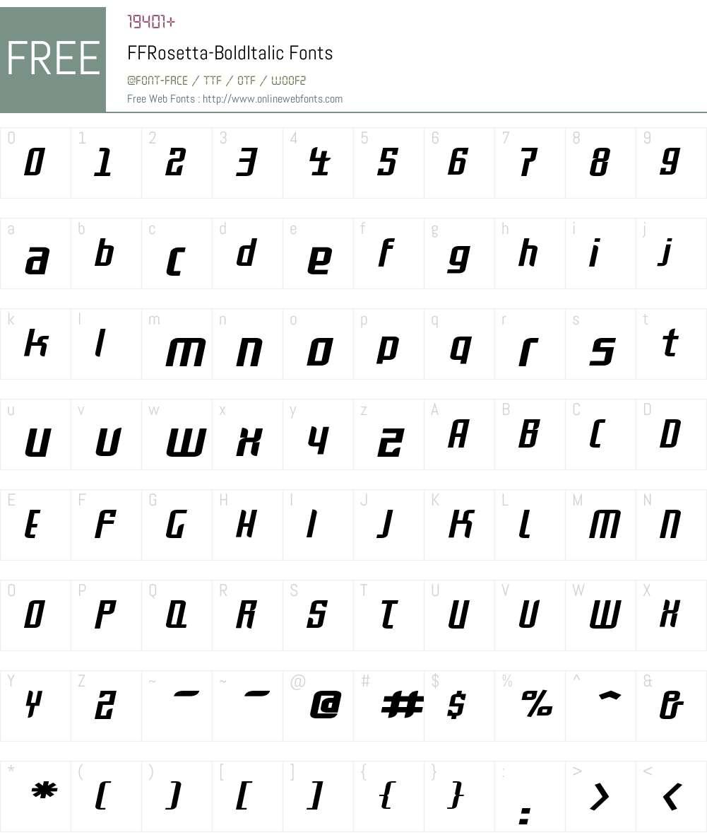 FFRosetta-BoldItalic Font Screenshots
