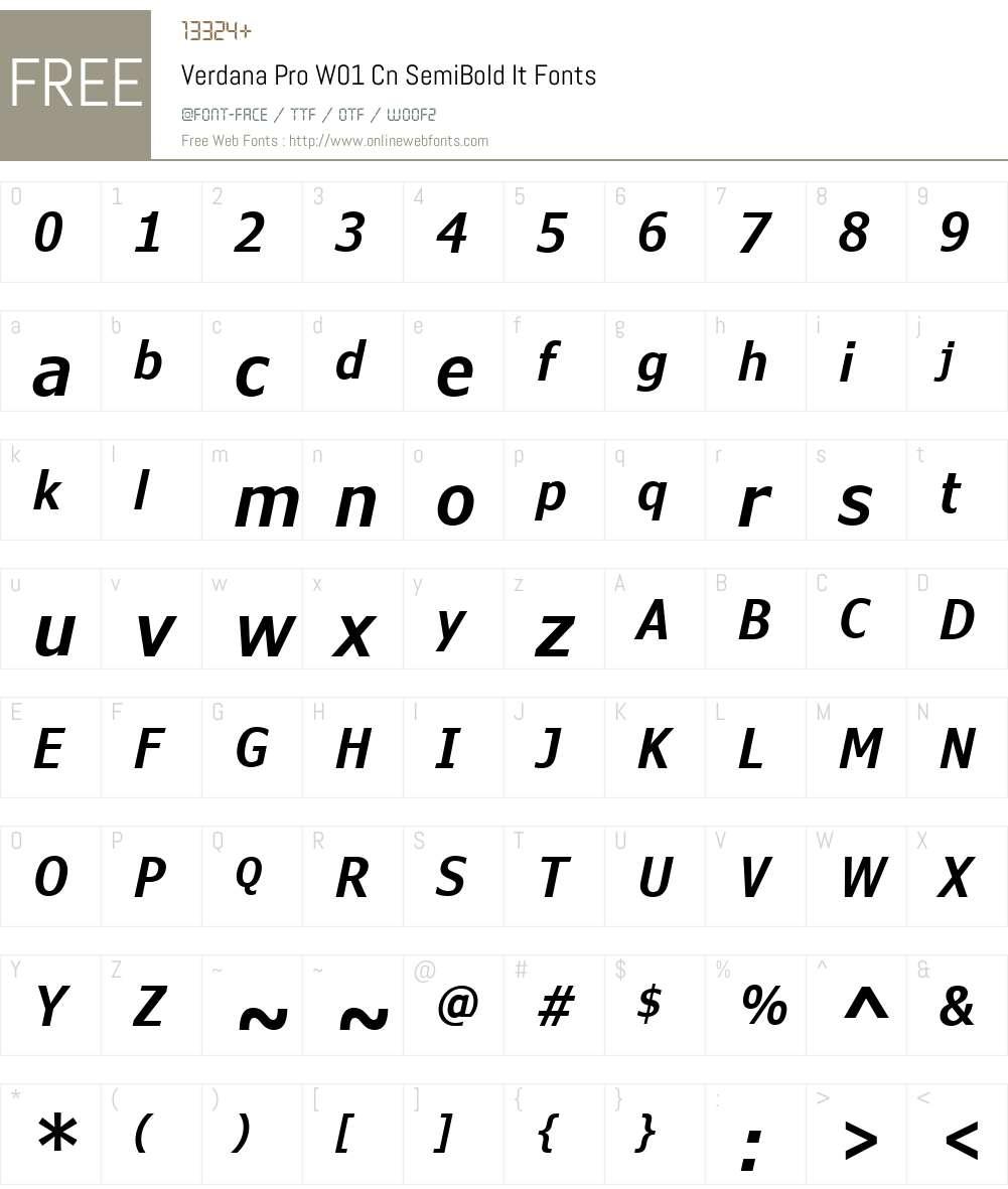 VerdanaProW01-CnSemiBoldIt Font Screenshots