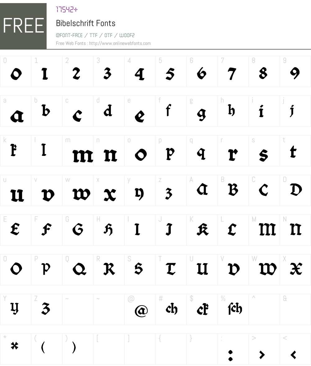 Bibelschrift Font Screenshots