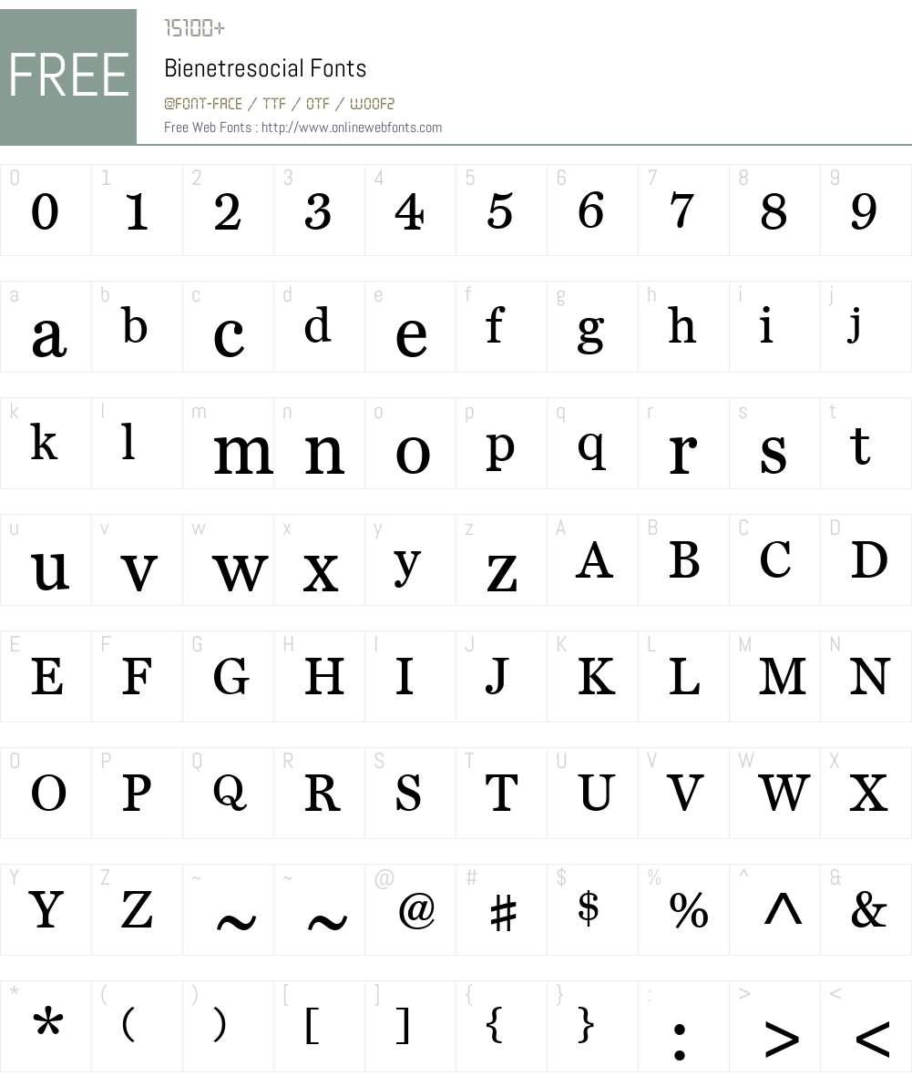 Bienetresocial Font Screenshots