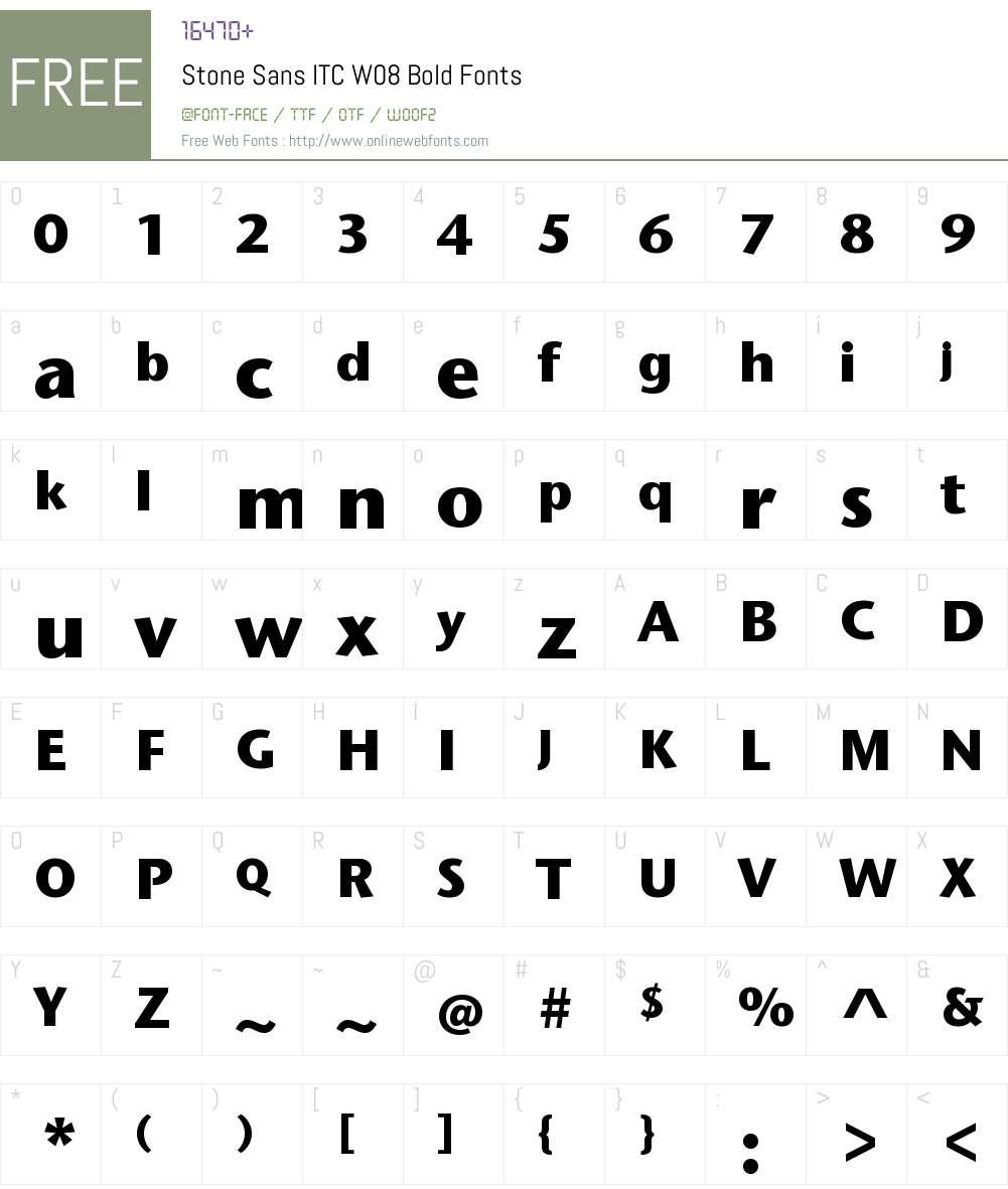 StoneSansITCW08-Bold Font Screenshots