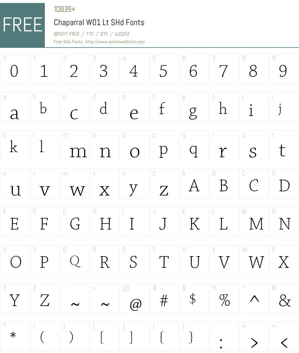 ChaparralW01-LtSHd Font Screenshots