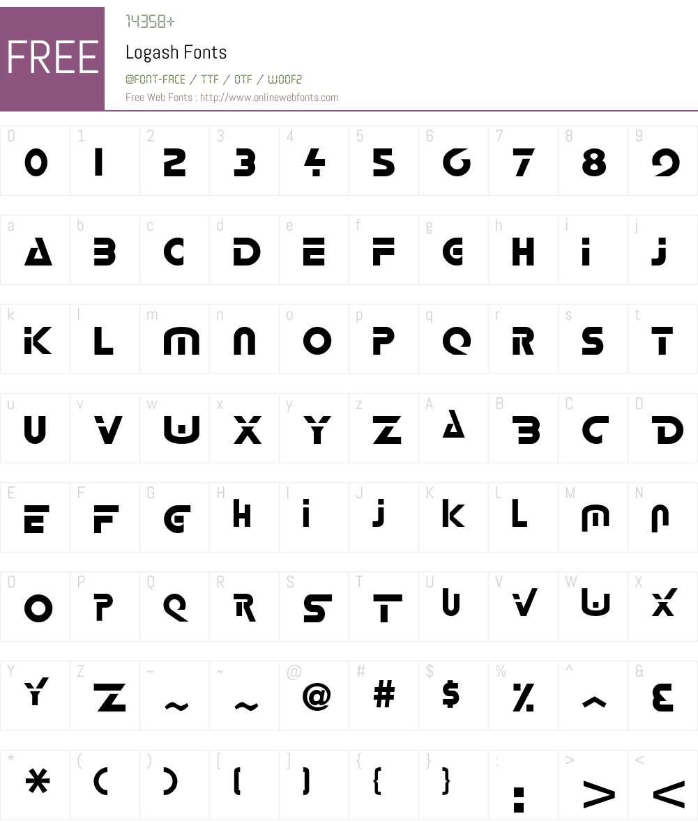 Logash Font Screenshots