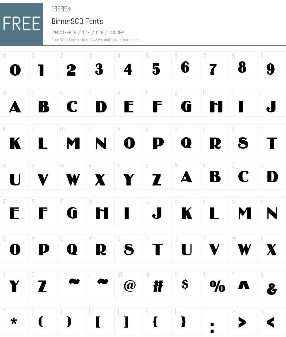 BinnerSCD Font Screenshots