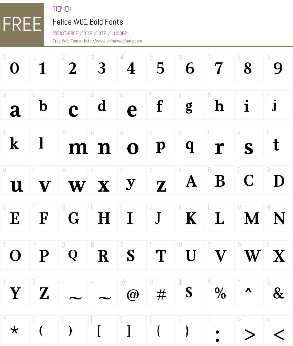 FeliceW01-Bold Font Screenshots