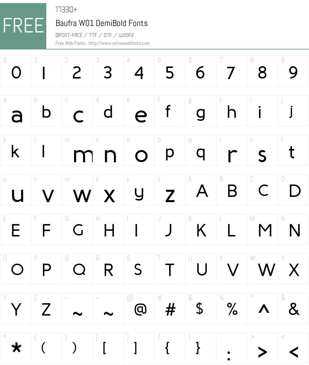 BaufraW01-DemiBold Font Screenshots