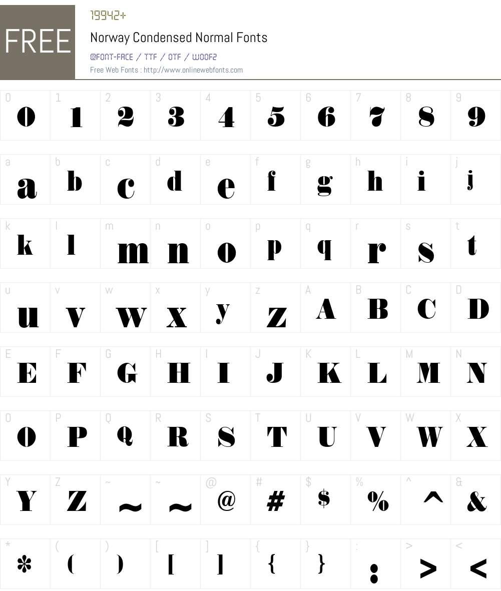 Norway Condensed Font Screenshots