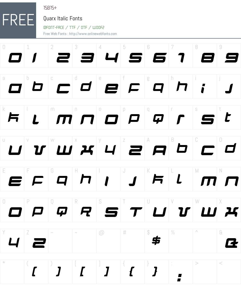 Quarx Font Screenshots