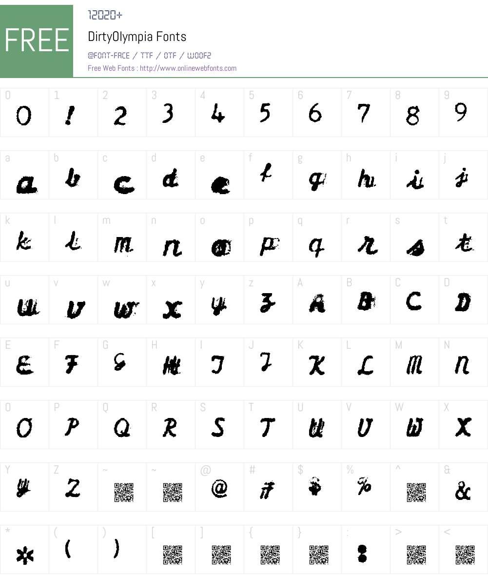 DirtyOlympia Font Screenshots