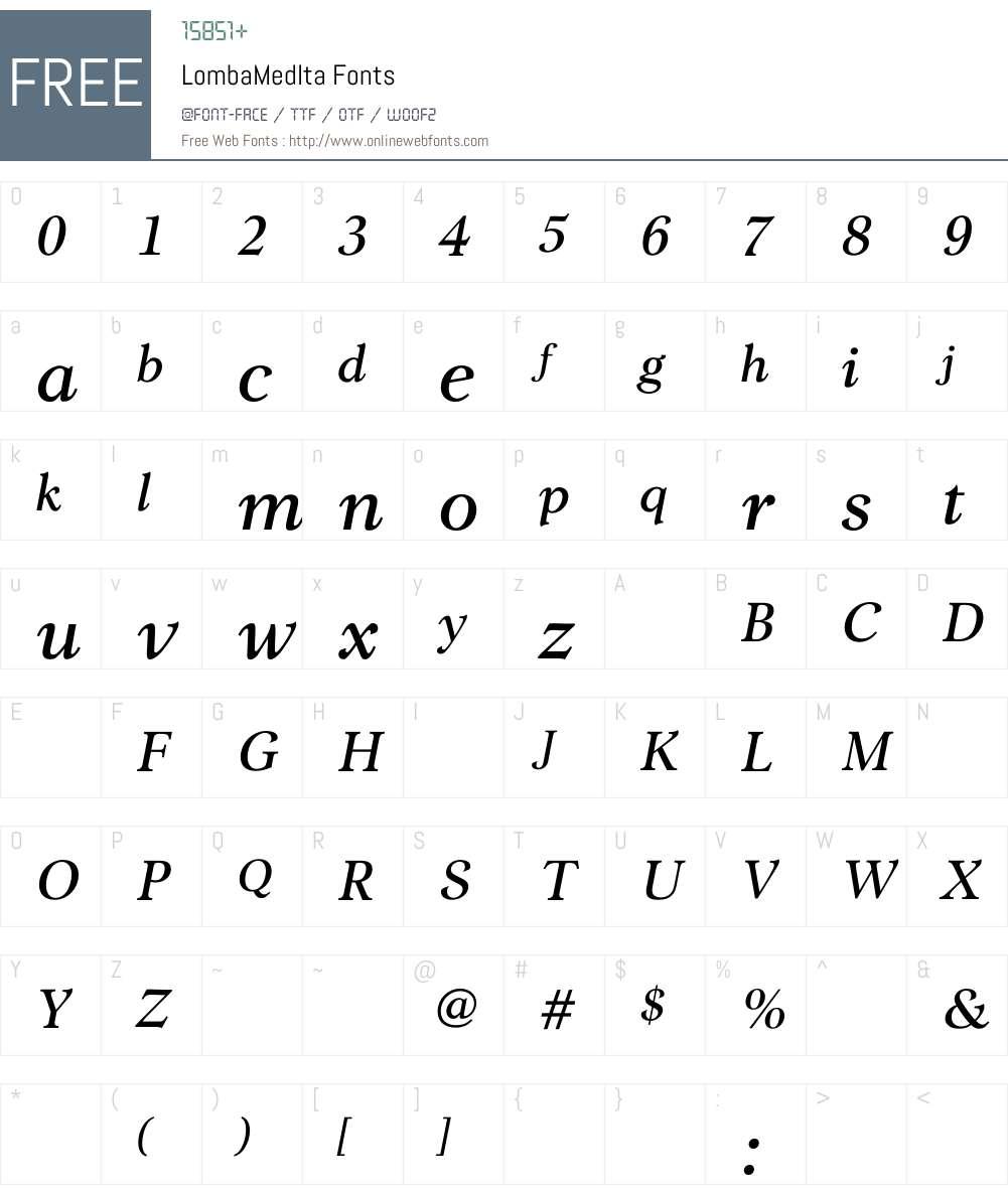 LombaMediumItalic Font Screenshots