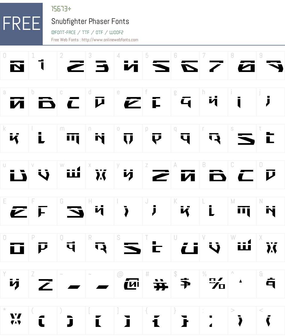 Snubfighter Phaser Font Screenshots