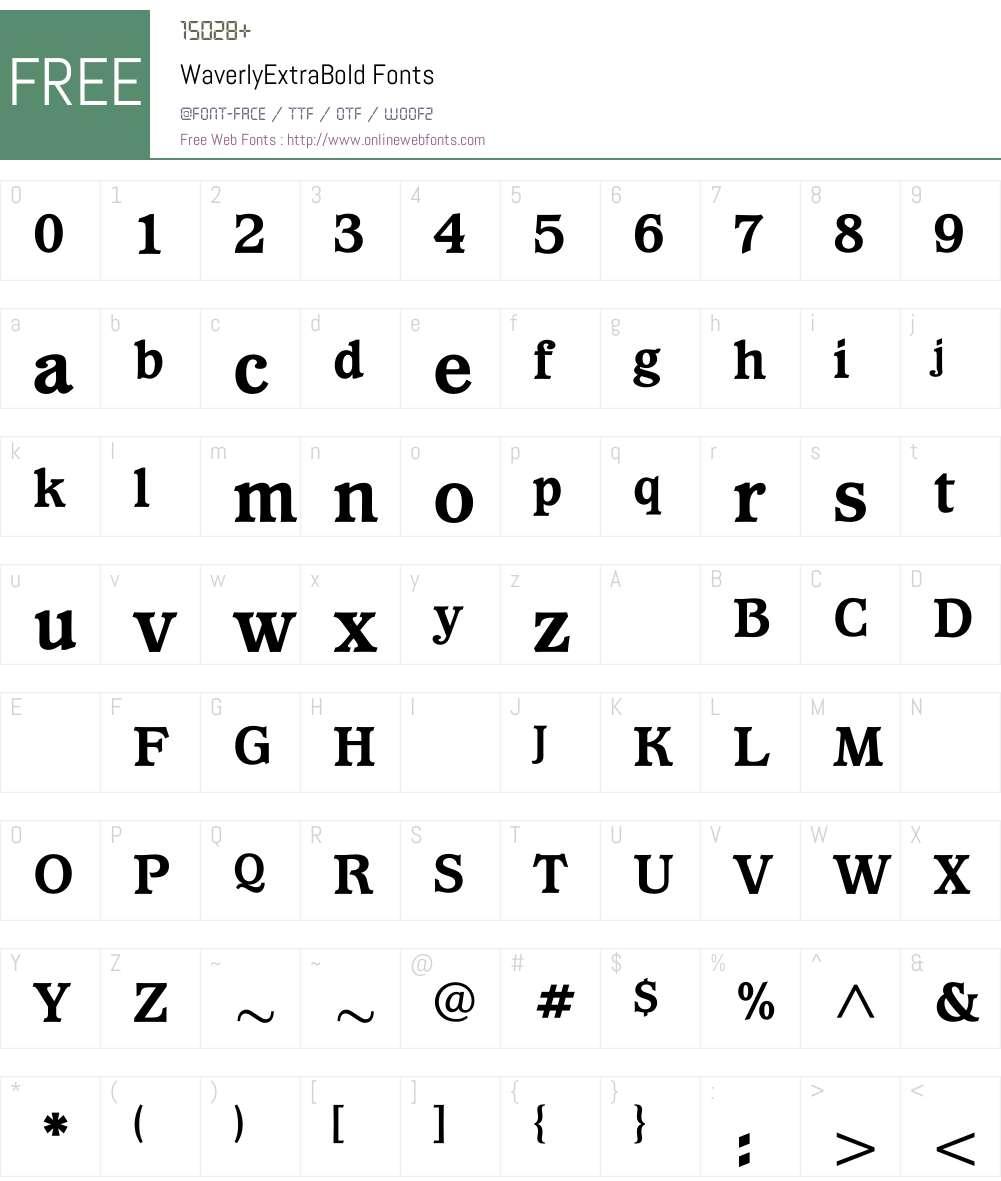 WaverlyExtraBold Font Screenshots