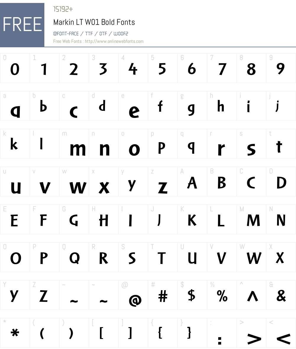 MarkinLTW01-Bold Font Screenshots