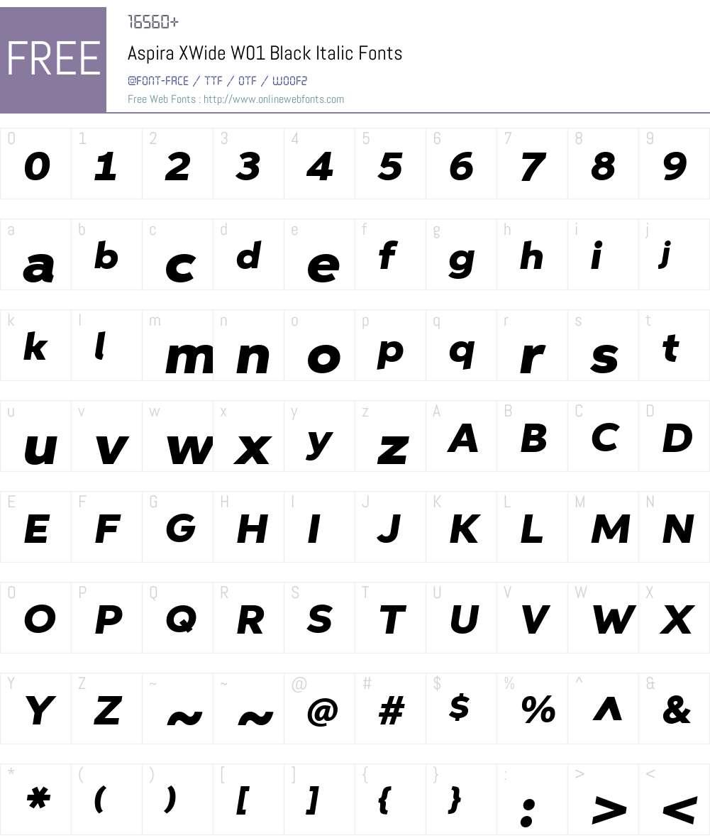 AspiraXWideW01-BlackItalic Font Screenshots