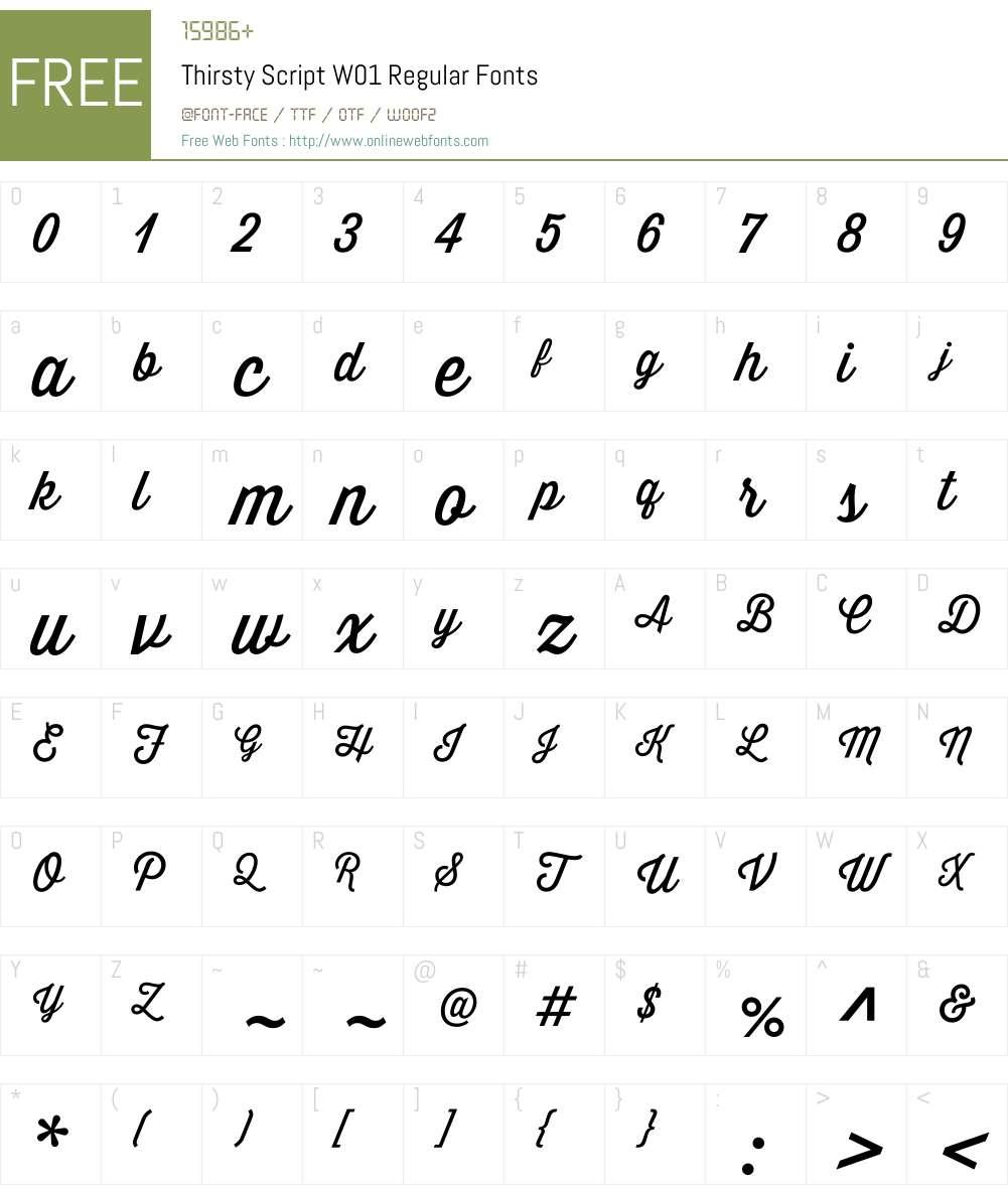 ThirstyScriptW01-Regular Font Screenshots