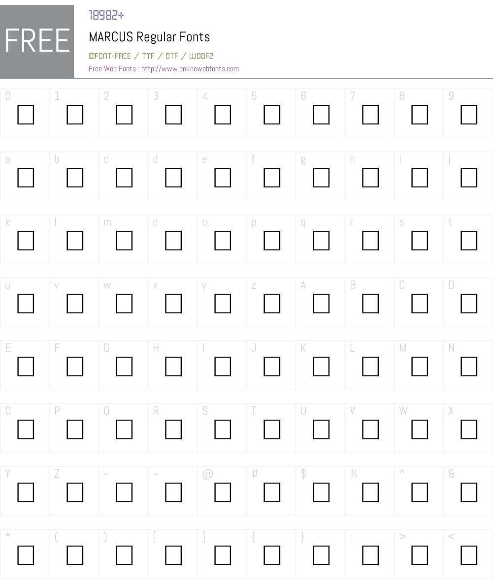 MARCUS Font Screenshots