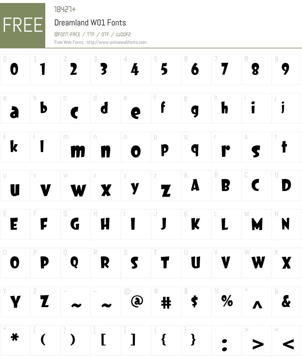 DreamlandW01 Font Screenshots