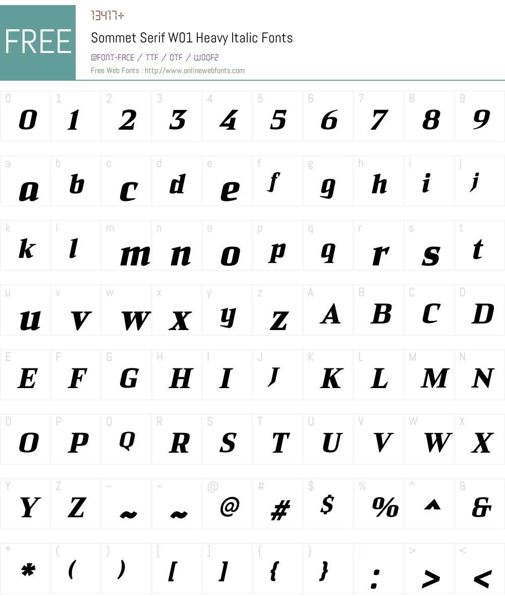 Sommet Serif Heavy Italic Font Screenshots