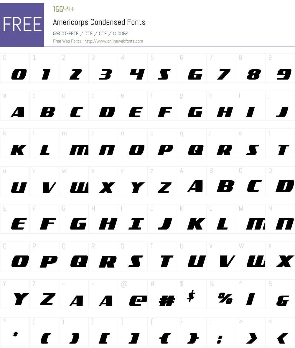 Americorps Condensed Font Screenshots
