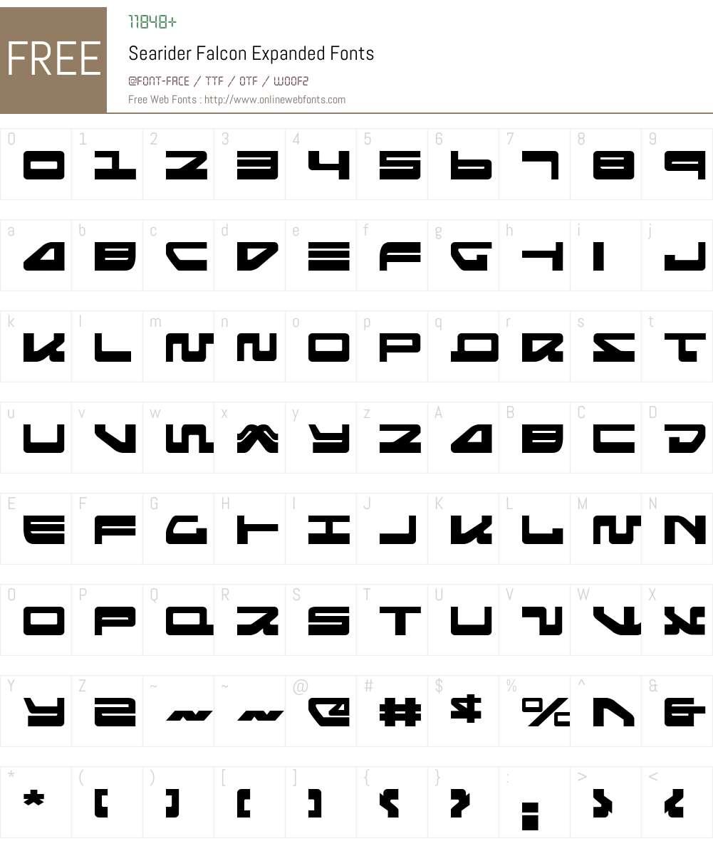 Searider Falcon Expanded Font Screenshots
