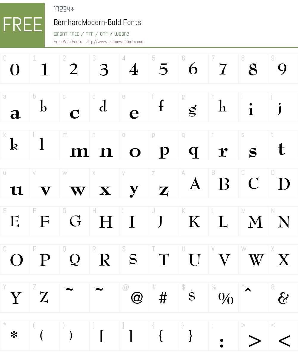 BernhardModern Font Screenshots