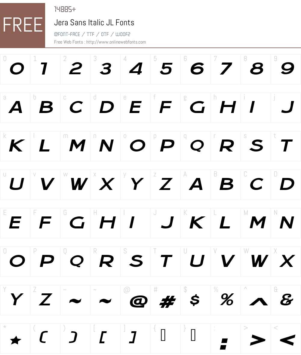 Jera Sans Italic JL Font Screenshots