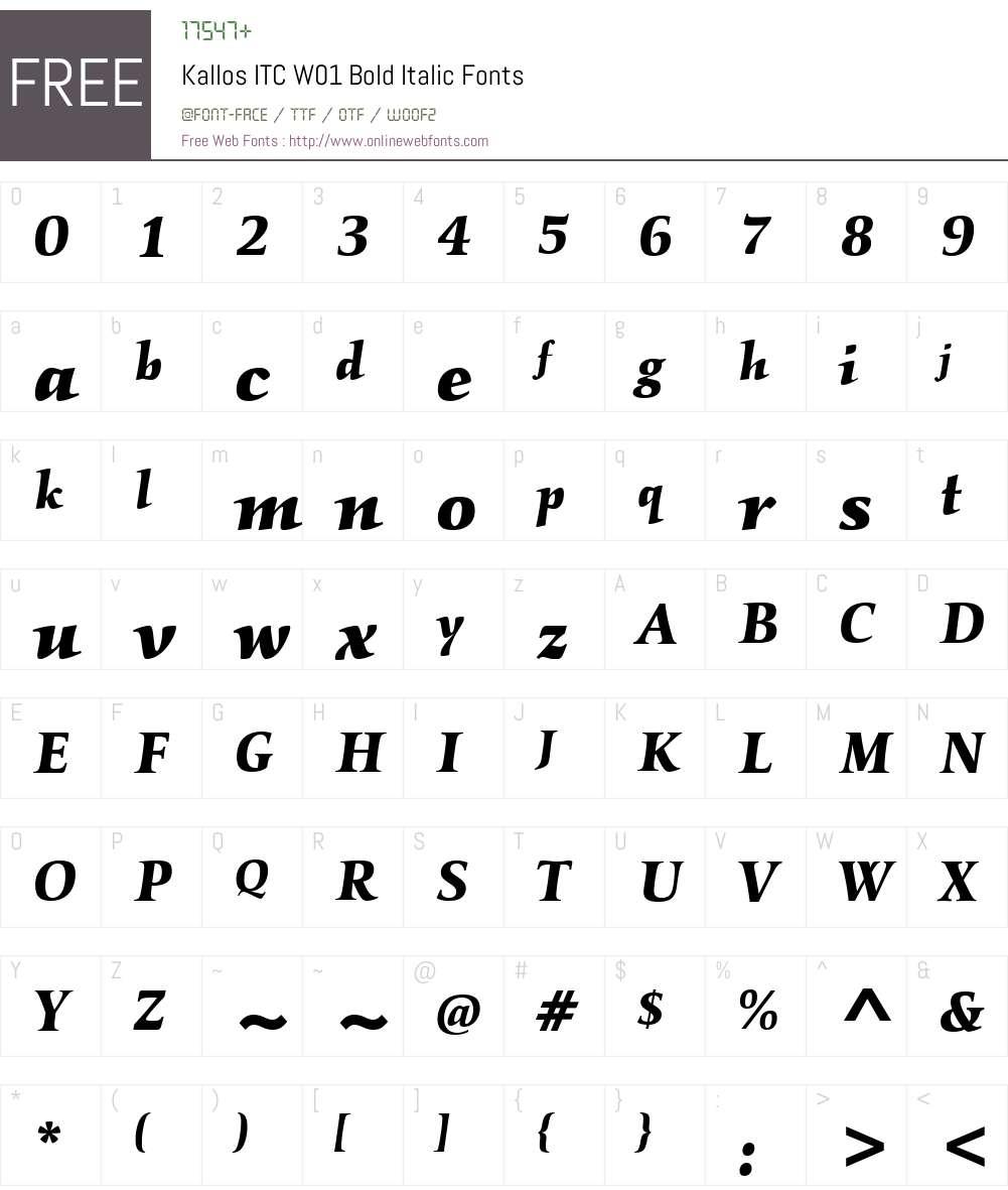 KallosITCW01-BoldItalic Font Screenshots