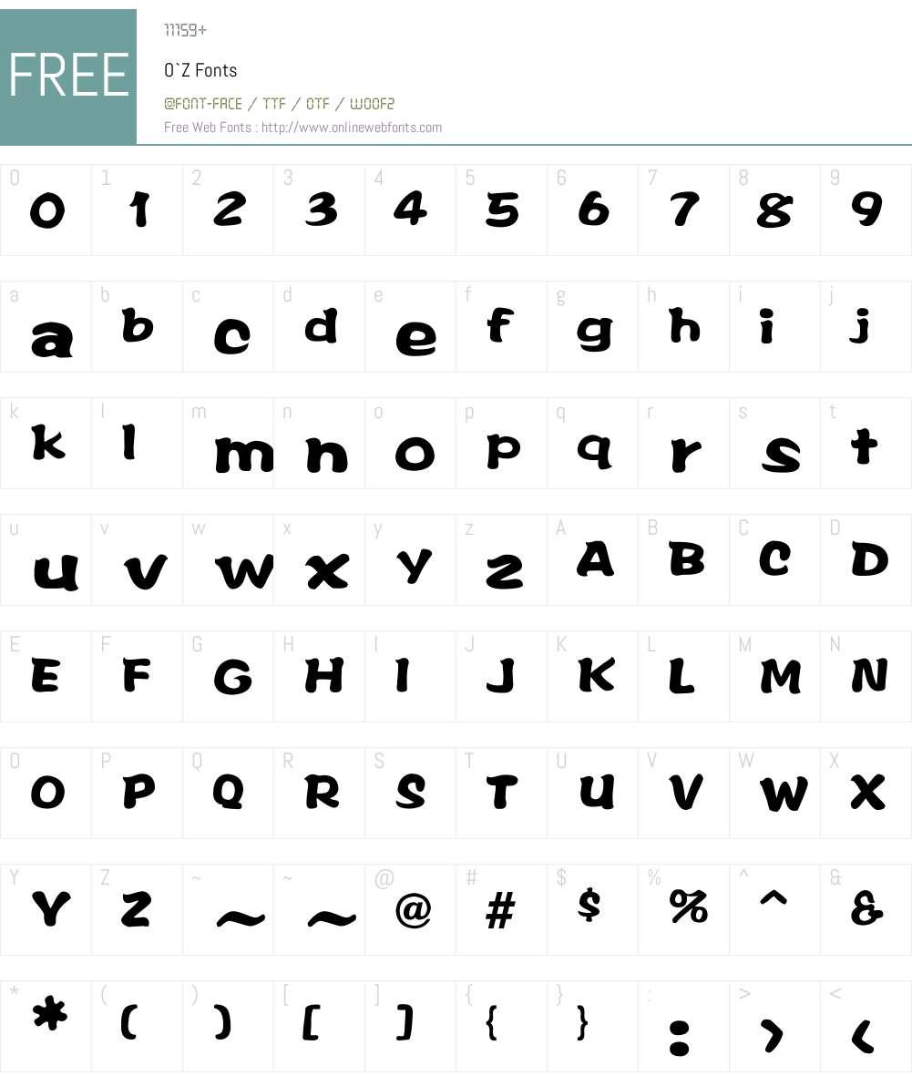 O`Z Font Screenshots