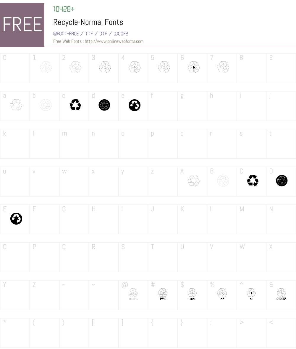Recycle-Normal Font Screenshots