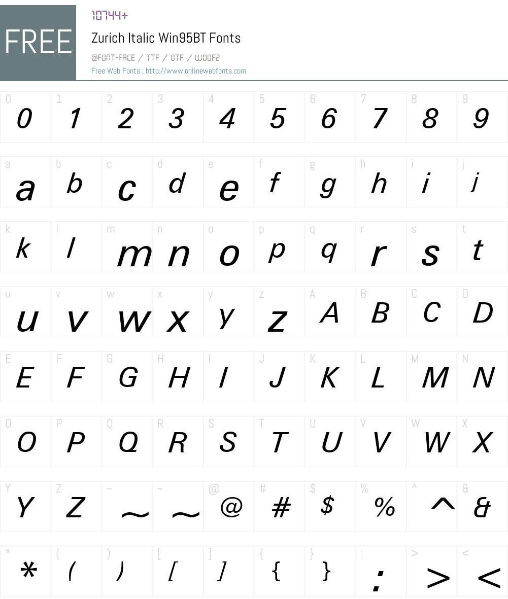 Zurich Win95BT Font Screenshots