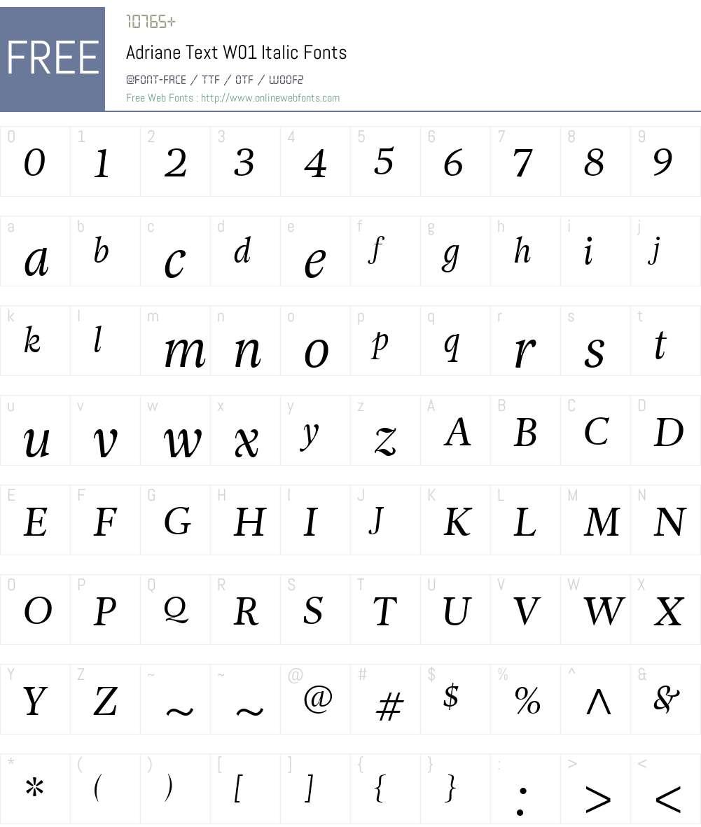 AdrianeTextW01-Italic Font Screenshots
