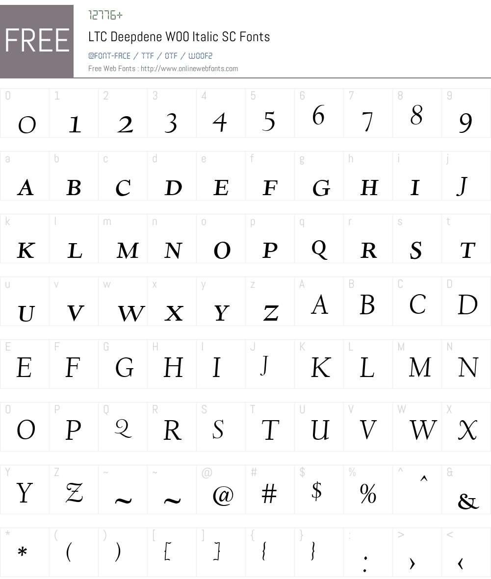 LTCDeepdeneW00-ItalicSC Font Screenshots