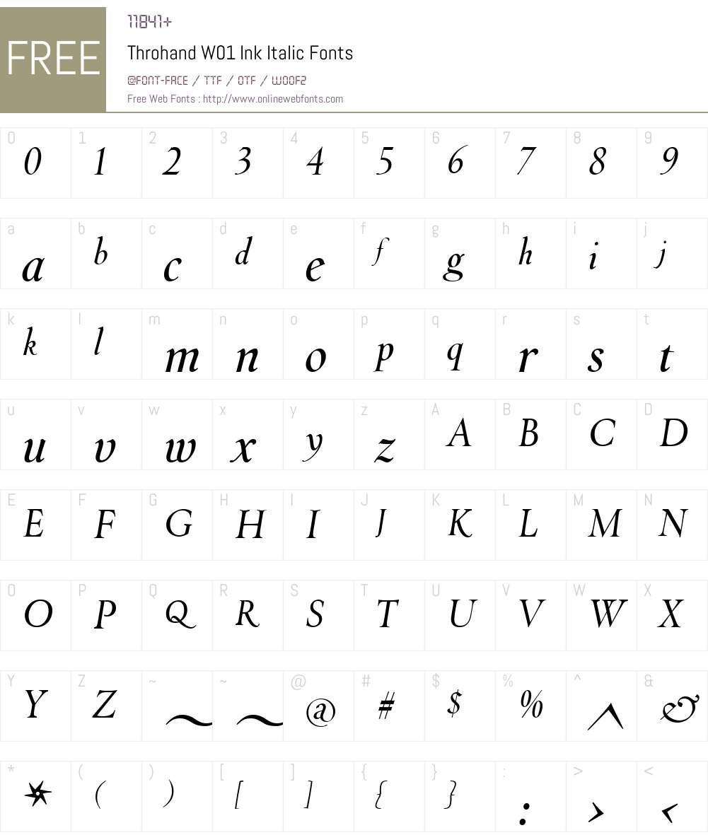 ThrohandW01-InkItalic Font Screenshots