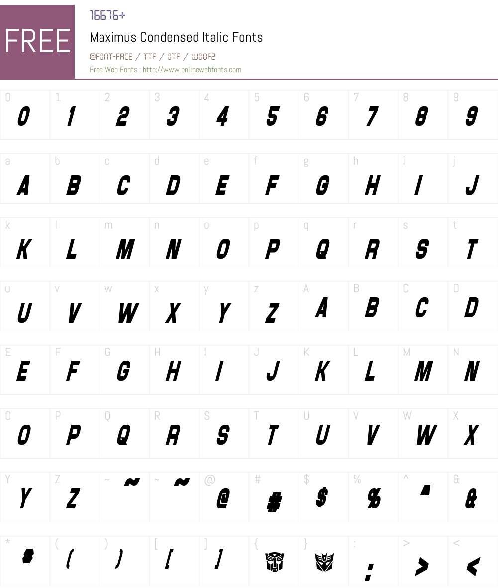Maximus Condensed Font Screenshots