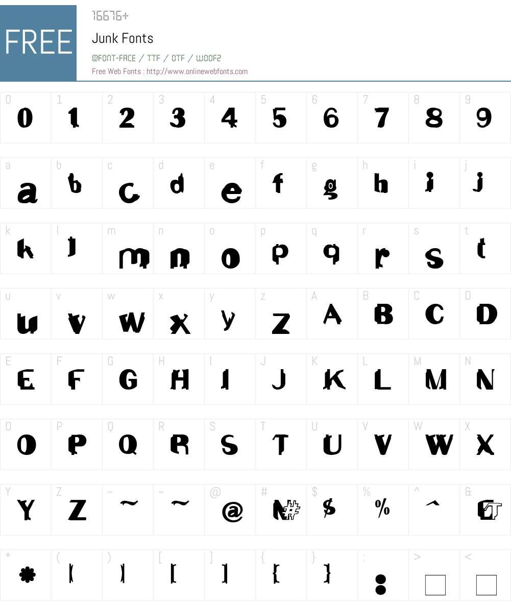Junk Font Screenshots