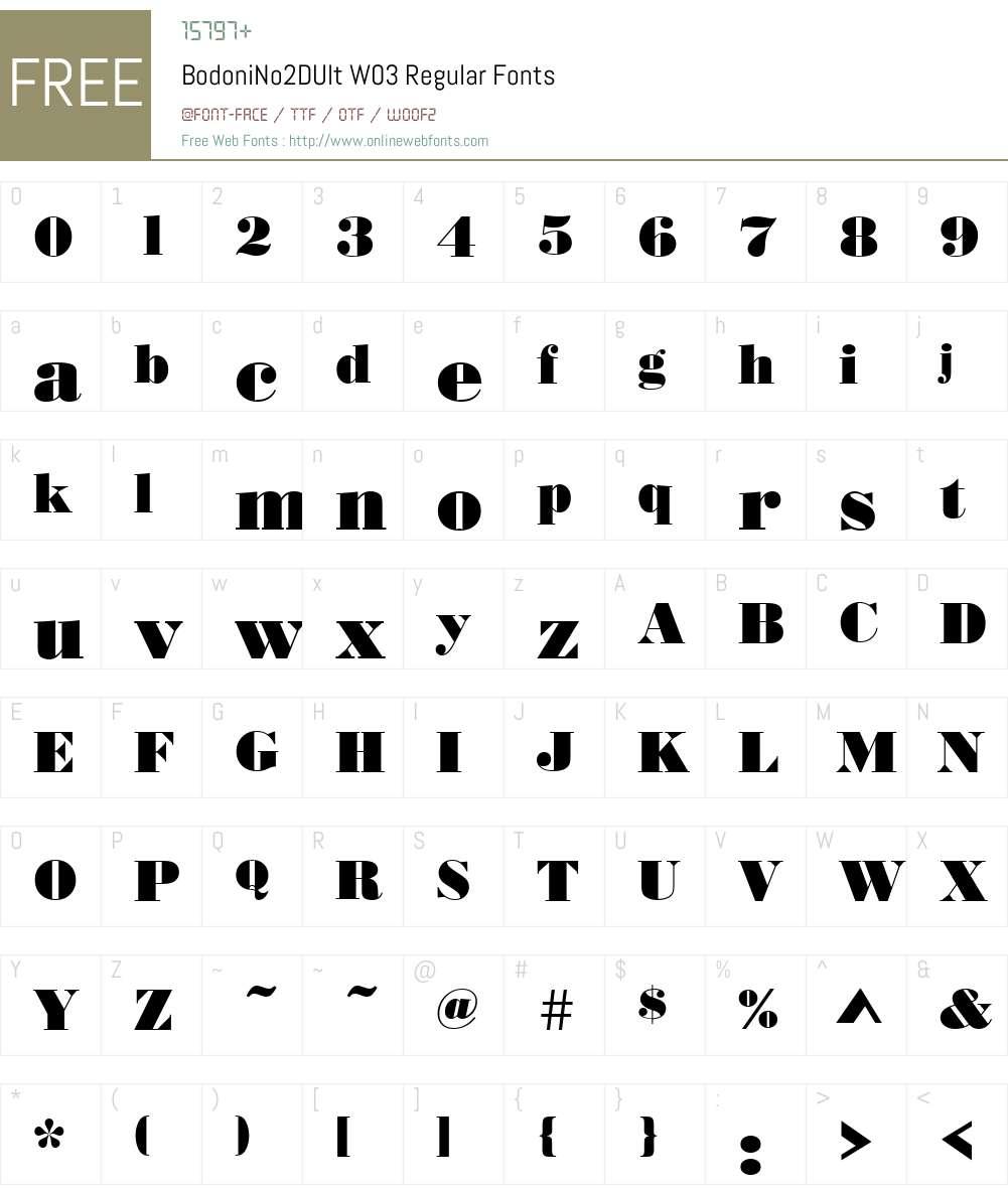 Bodoni No. 2 Font Screenshots