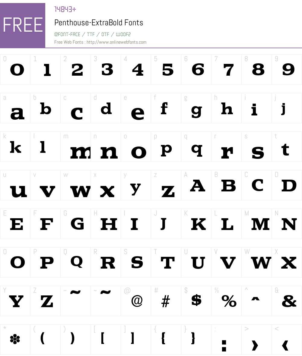 Penthouse-ExtraBold Font Screenshots