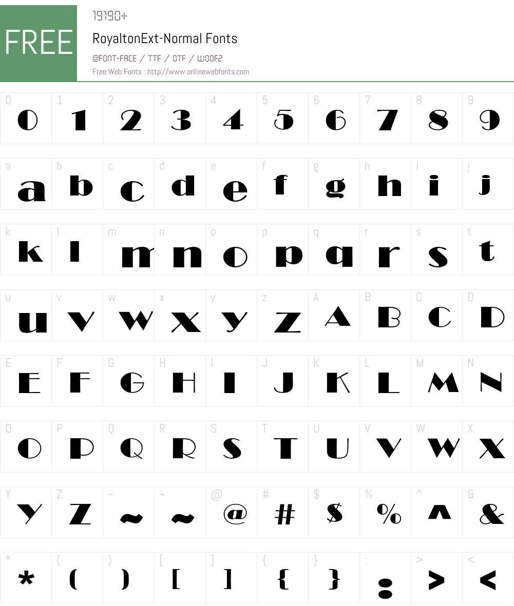 RoyaltonExt-Normal Font Screenshots