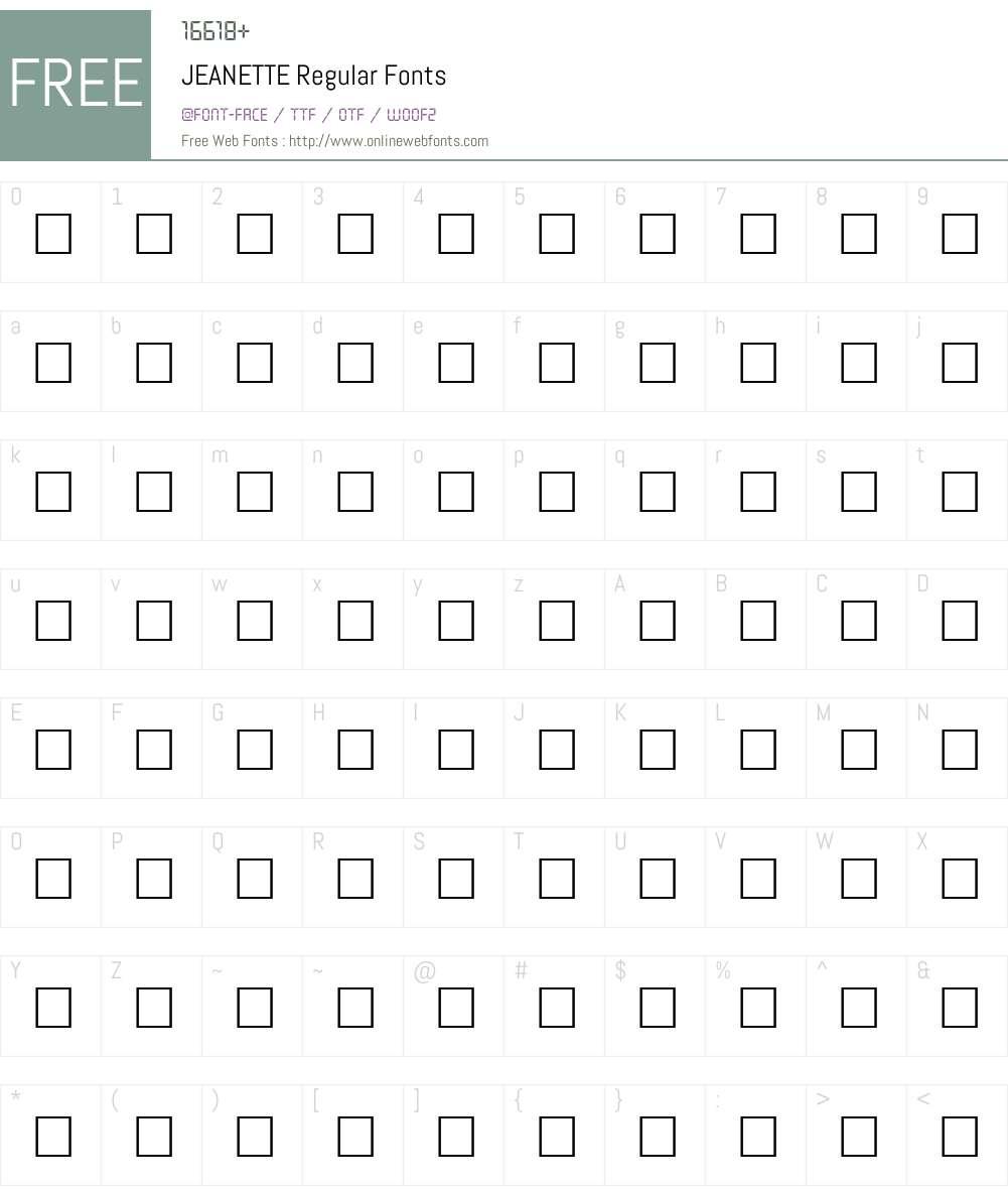 JEANETTE Font Screenshots