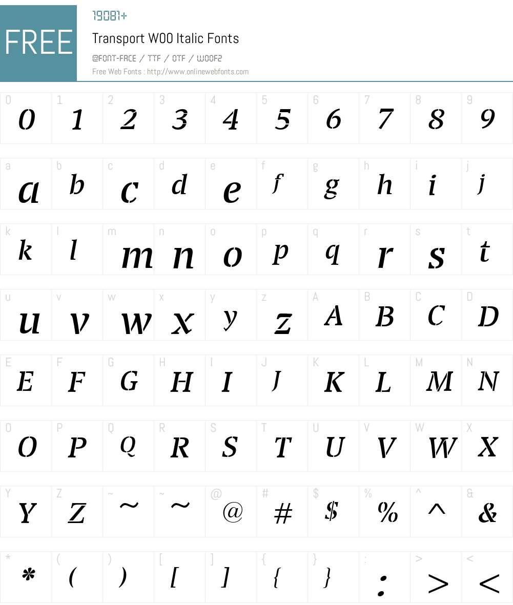 TransportW00-Italic Font Screenshots
